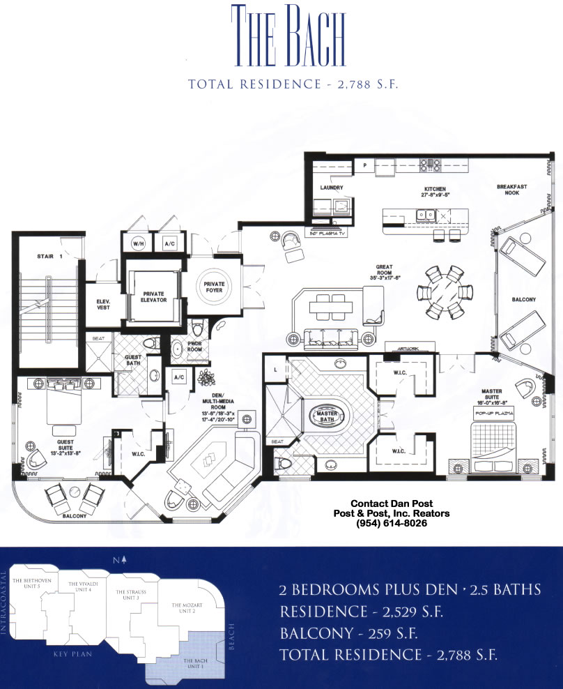 Sonata beach club floor plan the bach for Bach floor plans